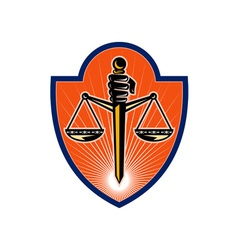 Hand holding sword scales of justice vector image vector image