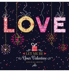 Holiday and valentines day hand drawing greeting vector