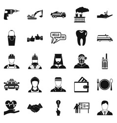 hr icons set simple style vector image vector image