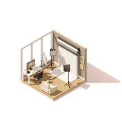 isometric low poly Photo studio room icon vector image vector image