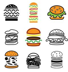 logo icons burger vector image vector image