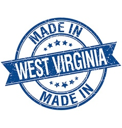 Made in west virginia blue round vintage stamp vector