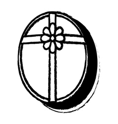 Open oval gift box ribbon festive sketch vector
