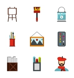 Paint drawing icons set flat style vector image