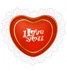 red heart with lace vector image vector image