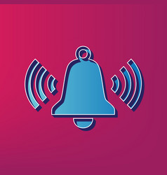 Ringing bell icon blue 3d printed icon on vector