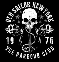 Sailor skull t shirt graphic design vector
