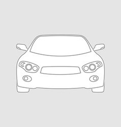 Sedan car wireframe front view white fill in vector