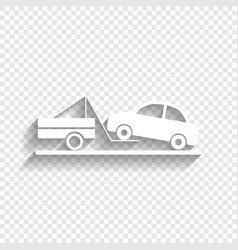 Tow truck sign white icon with soft vector