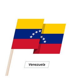 Venezuela ribbon waving flag isolated on white vector
