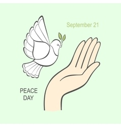 White dove with an olive branch and the human hand vector