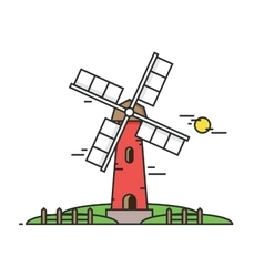 Windy mill on a background of green fields and vector