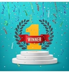 Winner background round pedestal vector image