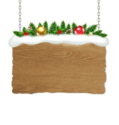 Wooden sign with fir tree and snow vector
