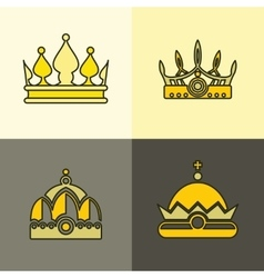 Yellow crown icons on brown background vector image vector image