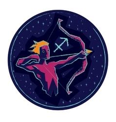 Zodiac sign Sagittarius on starry background vector image