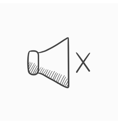 Mute speaker sketch icon vector