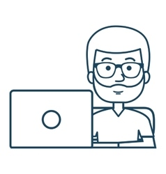 Avatar of a person working on laptop vector