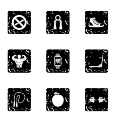 Gym icons set grunge style vector