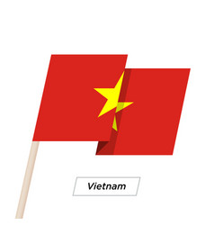 Vietnam ribbon waving flag isolated on white vector