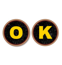 Ok typewriter keys vector