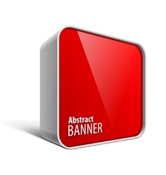 Shiny gloss red banner in the form of a square box vector