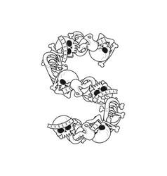 Letter s skeleton bones font anatomy of an vector