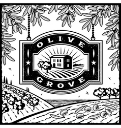 Retro olive grove black and white vector