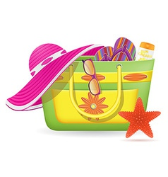 Female bag with beach accessories vector