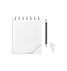 Notebook pencil and clips vector