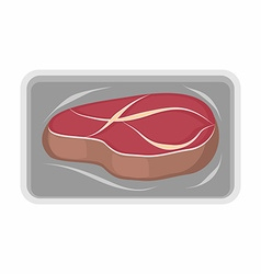 Meat packaging fresh steak of beef vector