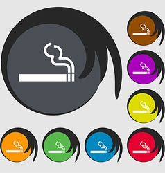 Cigarette smoke icon sign symbol on eight colored vector