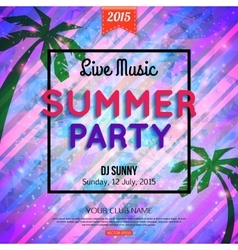 Summer party typographical shining template poster vector