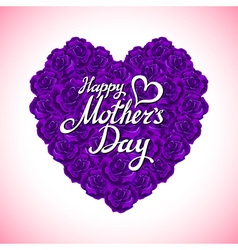 Mother day heart made of violet roses bouquet of vector