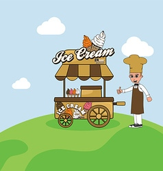 Food cart vendor vector