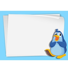 Cartoon paper space penguin vector