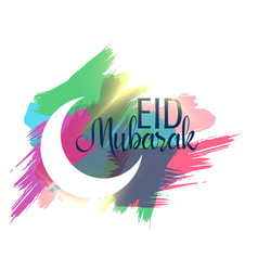Abstract eid mubarak background with ink strokes vector