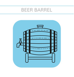 Beer wooden barrel with a tap flat icon object vector
