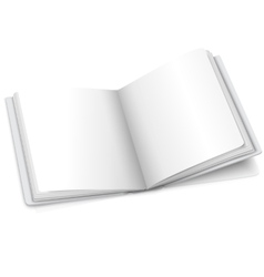 Blank white opened book or photo album for vector