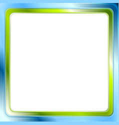 Blue and green bright frame on white background vector