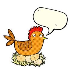 Cartoon hen on eggs with speech bubble vector