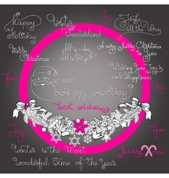 Christmas garland and handwritten words vector image
