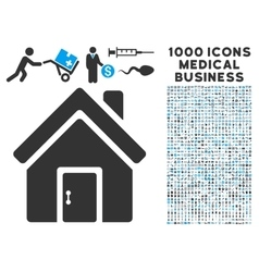 Closed House Door Icon with 1000 Medical Business vector image