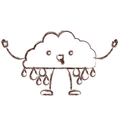 cloud with raindrops kawaii caricature in blurred vector image