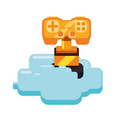 Cup pixelated videogame vector
