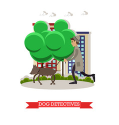 Detective with beagle dog vector