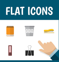 Flat icon stationery set of trashcan supplies vector