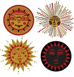 four kinds of sun in the old Russian style vector image vector image