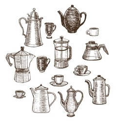 hand-drawn coffee utensils set vector image
