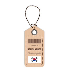 hang tag made in south korea with flag icon vector image vector image